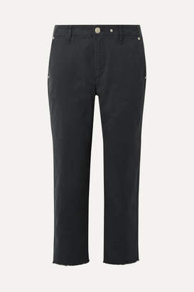 Rag & Bone Buckley Cropped Cotton-blend Twill Straight-leg Pants - Midnight blue