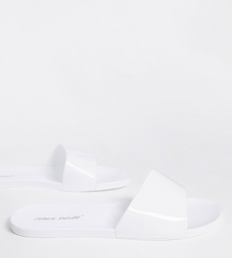 Public Desire Wide Fit Galaxy jelly slides in white