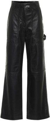 Common Leisure High-rise flared leather pants