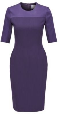 HUGO BOSS Cropped Sleeved Dress In Stretch Virgin Wool - Dark Purple