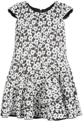 Zoe Gaby Textured Knit Floral Cap-Sleeve Dress, Size 4-6X