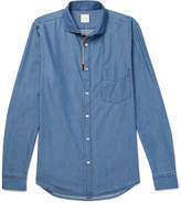 Paul Smith - Cutaway-collar Embroidered Cotton-blend Chambray Shirt