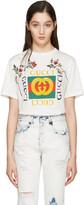 Gucci - T-shirt à logo brodé blanc