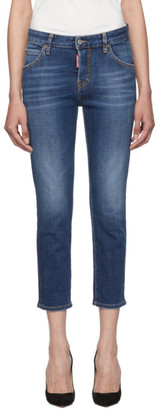 DSQUARED2 Blue Cool Girl Cropped Jeans