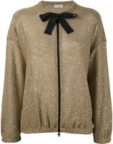 Brunello Cucinelli sequin embroidered cardigan - women - Silk/Linen/Flax/Polyamide - M