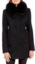 Katherine Kelly Cashmere Blend Genuine Fox Fur Club Collar Walker Coat