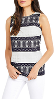 Oasis Marais Stripe Lace Shell Top, White/Midnight Blue