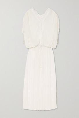 ELENA MAKRI Mirita Crochet-trimmed Pleated Silk-tulle Dress