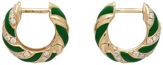 Yvonne Léon Gold and Green Twisted Enamel Earrings