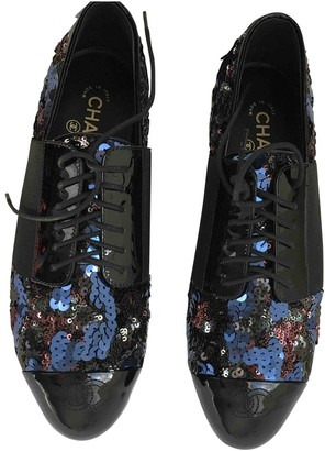 Chanel Navy Glitter Lace ups