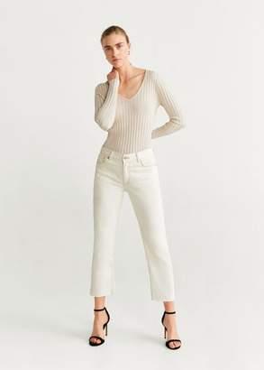 MANGO Metallic-knit sweater ecru - XS - Women