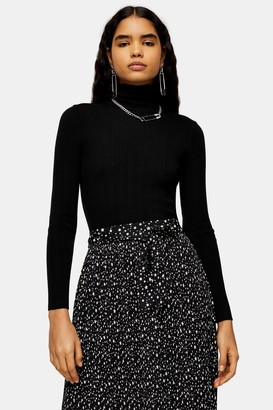 Topshop Womens Black Knitted Roll Neck Top - Black