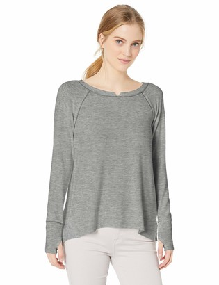 Michael Stars Women's Madison with Contrast Long Sleeve Notch Neck Hi Low
