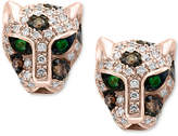 Effy Signature by Diamond (1/3 ct. t.w.) & Tsavorite Accent Panther Stud Earrings in 14k Rose Gold