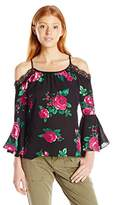My Michelle Women's High Low Cold Shoulder Top with Bell Sleeves, Lace Details, and Spaghetti Straps