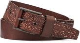 Robert Graham Pendleton Embossed-Leather Belt, Brown