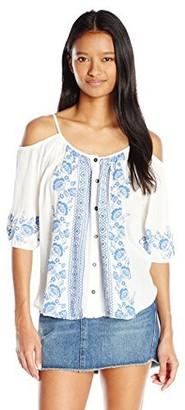 Jolt Women's Button-Front Cold-Shoulder Top