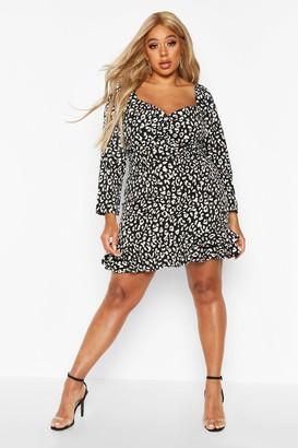 boohoo Plus Metallic Leopard Ruffle Hem Skater Dress