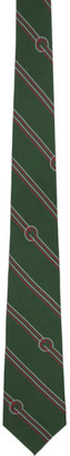 Gucci Green Silk Diagonal Stripes and G Tie