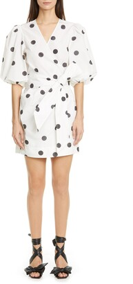 Ganni Polka Dot Puff Sleeve Wrap Dress
