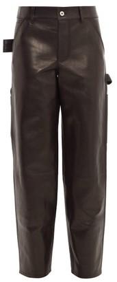Bottega Veneta Mid-rise Straight-leg Leather Trousers - Womens - Black