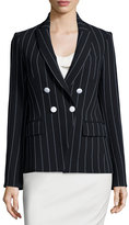 Veronica Beard Daytona Pinstriped Cutaway Blazer, Black/White