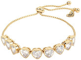 Betsey Johnson Betsey Blue Crystal Hearts Gold Slider Bracelet