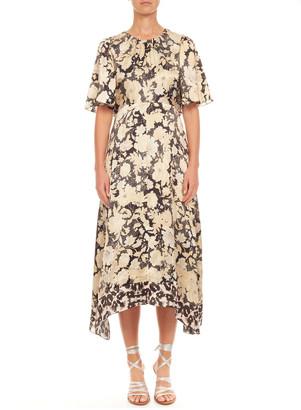 Rebecca Taylor Short-Sleeve Gold Leaf Dress