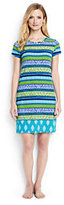Lands' End Women's Long Swim Cover-up T-shirt Dress-Scuba Blue Foulard Stripe