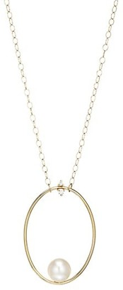 Mizuki Large 14K Yellow Gold, Floating 10MM Freshwater Pearl & Diamond Oval Pendant Necklace