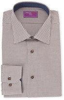 Lorenzo Uomo Brown Check Trim Fit Dress Shirt