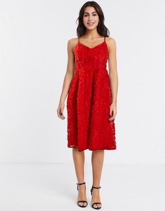Vila applique midi skater dress in red
