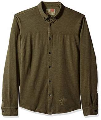 Scotch & Soda Men's Regular Fit Garment-Dyed Shirt in Jersey Quality with Poplin