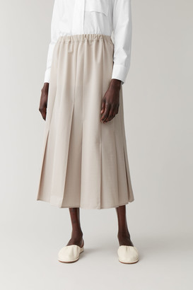 Cos Pleated Cotton-Mix Skirt