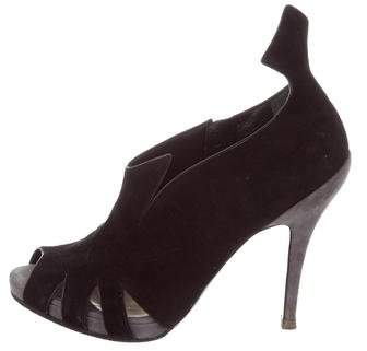 Christian Dior Suede Peep-Toe Booties