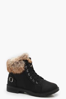 boohoo Faux Fur Cuff Hiker Boots