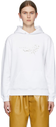 Givenchy White Crystal Floral Logo Hoodie