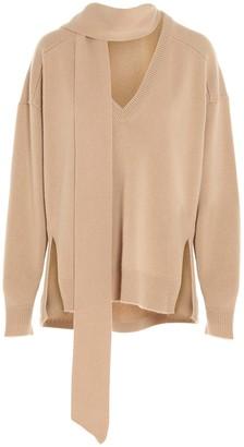 Chloé Tie Neck V-Neck Sweater
