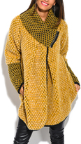 Yellow Tweed Wool-Blend Funnel Collar Coat