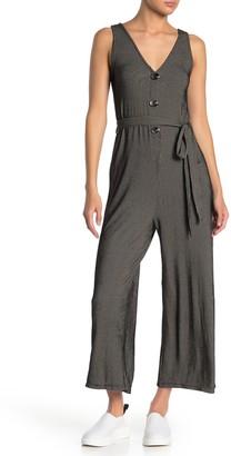 Blu Pepper Rib Knit Waist Tie Sleeveless Jumpsuit