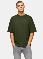 TopmanTopman CONSIDERED Khaki Boxy Pocket Organic Cotton T-Shirt