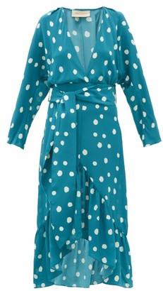 Adriana Degreas Polka-dot Silk-crepe Midi Dress - Womens - Blue Print