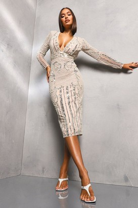 boohoo Premium Hand Embellished Plunge Neck Midi Dress