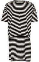 River Island Girls black stripe high-low hem T-shirt
