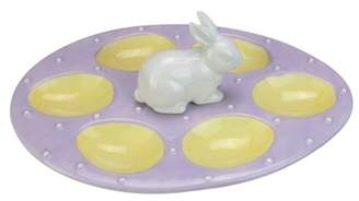 """Melrose 10"""" Bunny Ceramic Egg Plate or Candle Holder Easter Spring Decoration - Purple/Yellow"""