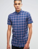 Minimum Shirt With Navy Check Short Sleeves In Slim Fit