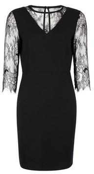 Dorothy Perkins Womens **Black Eyelash Sleeve Pencil Dress, Black
