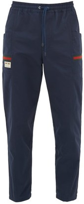 Gucci Web-stripe Cotton-canvas Track Pants - Mens - Navy