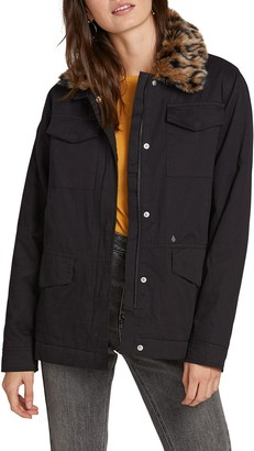 Volcom V-51 Faux Fur Collar Cotton Jacket