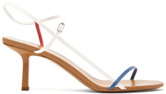 The Row Bare Mid-heel Leather Sandals - Womens - White Blue